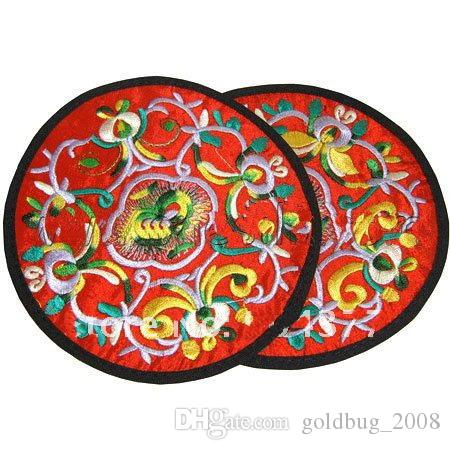 Personalized Round Embroidery Eco Coasters Christmas Favor Chinese style Fabric Cup Mats 20pcs/10pair mix color