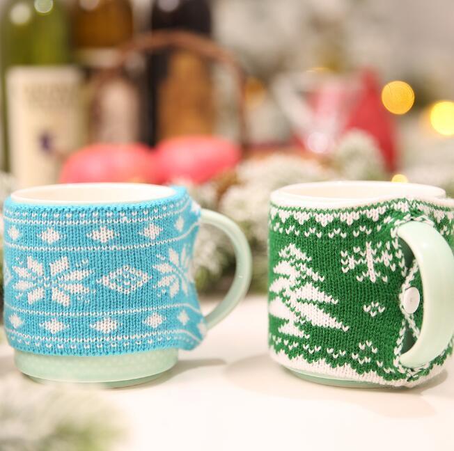 ev partisi masa dekorasyonu için yaratıcı örme Noel fincan kapağı Noel ağacı kar tanesi deseni ev kupa kapakları