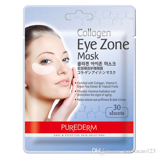 Korea Cosmetic PUREDERM Collagen Eye Zone Mask 30 sheets Crystal Collagen Eye Mask Eliminates Dark Circles