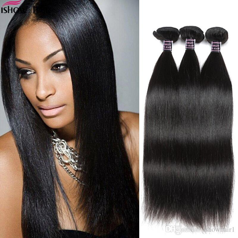 Ishow Cheveux Humains Meilleur 10A Brésilien Droit 3Bundle Offres Pas Cher Remy Humaine Cheveux Raides Faisceaux De Tissage 8-28 Pouces Extensions de Cheveux Naturels