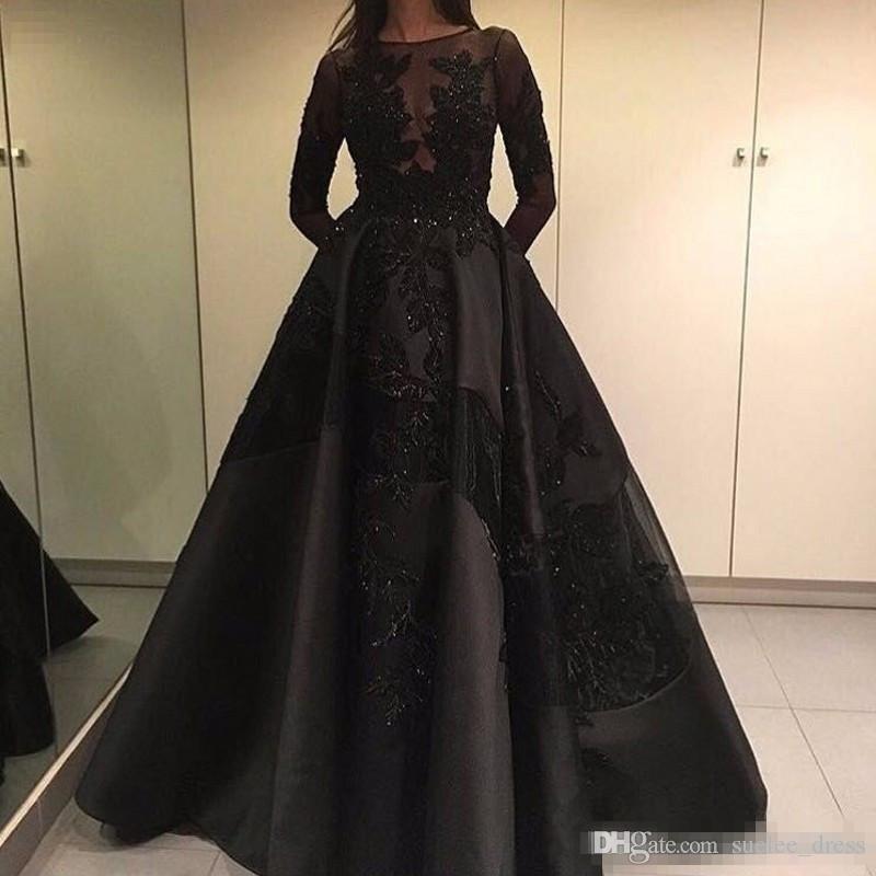 Modest Black Luxury Beaded Prom Dresses Maniche lunghe Illusion Corpetto Maniche lunghe Abito da sera formale Womens Pageant Gown Custom Made