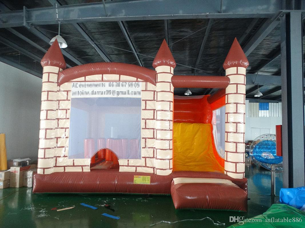 Good quality inflatable trampoline inflatable bouncer castle jumping house with slide for kids