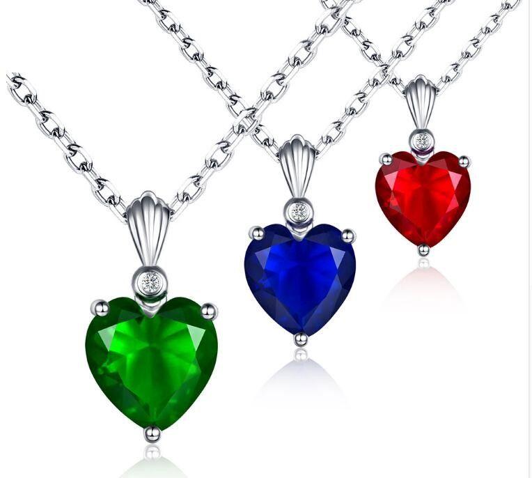 Мода стерлингового серебра Изумруд ожерелье Сапфир кулон Рубин ювелирные изделия сердце ожерелья подвески для женщин серебро 925