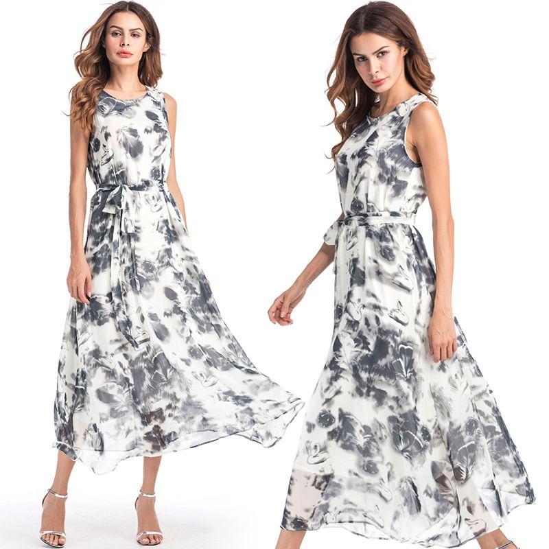 Boho robe avec impression de mode sans manches en mousseline de soie plage imprimé robe Plus la taille bohème vêtements robes de mode pour dames cadeaux d'anniversaire