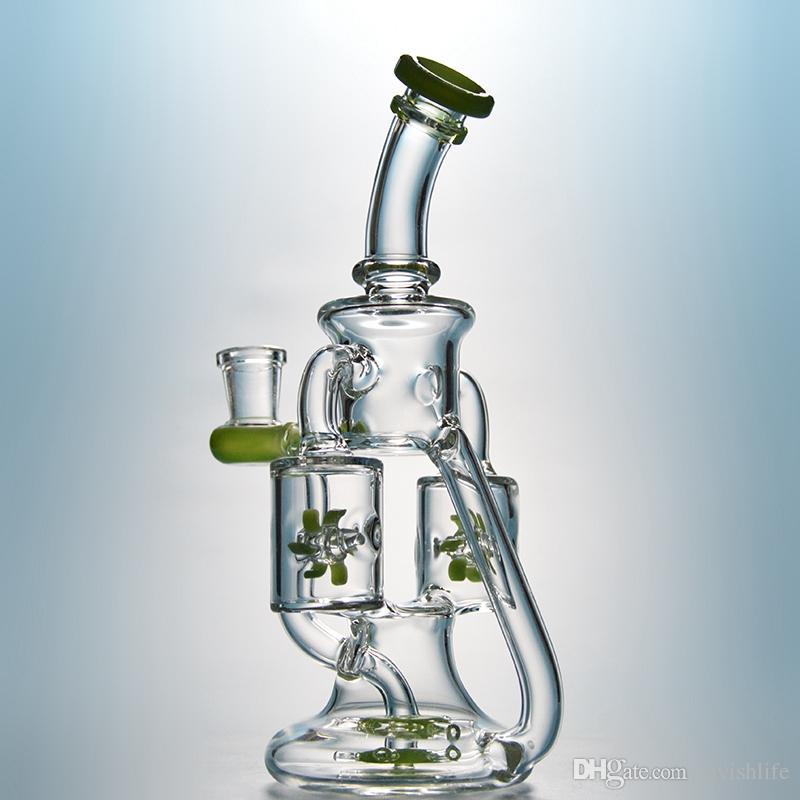 Двойной Ресайклер Propeller Percolater стекла Бонг 2 Цвета Зеленый Фиолетовый водопроводная труба Уникальные Dab нефтяные вышки с чашей XL167