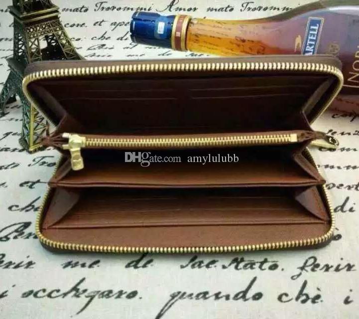 الجملة أعلى جودة جلد طبيعي الكلاسيكية محفظة أزياء والجلود محفظة طويلة محفظة النقود سستة الحقيبة عملة جيب مذكرة مقصورة