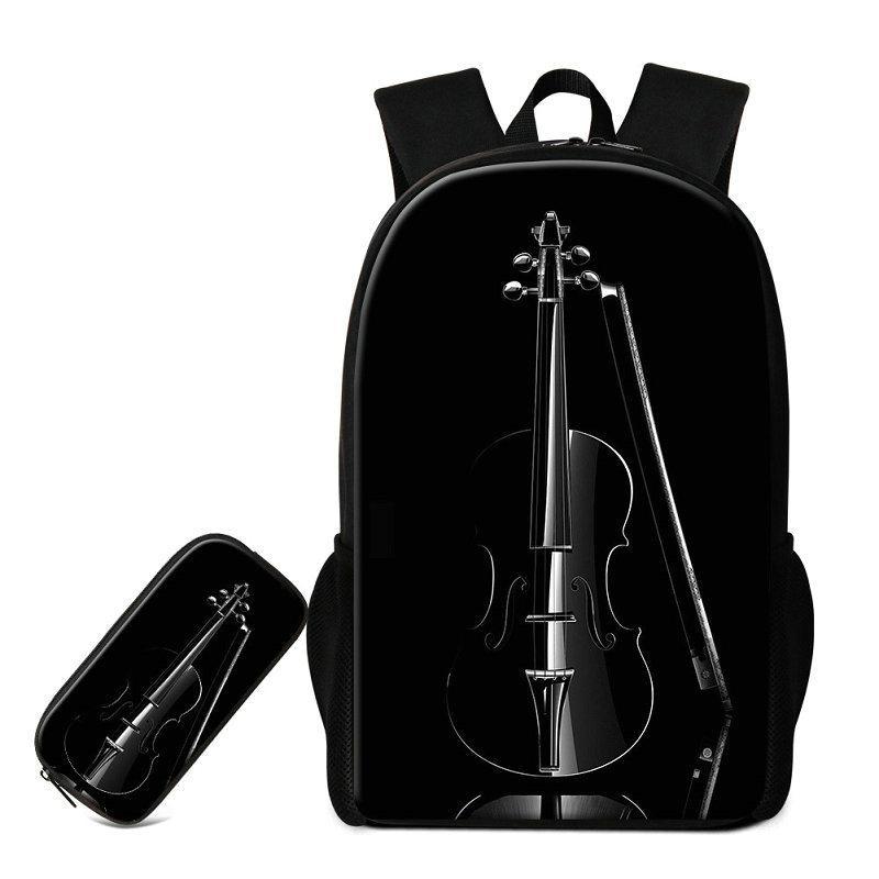 2 PCS/Set Violin Printing School Bags For Teeange Girls Children Fashion Pencil Case Musical Note Pattern Backpack Bookbags Mochilas Rugtas