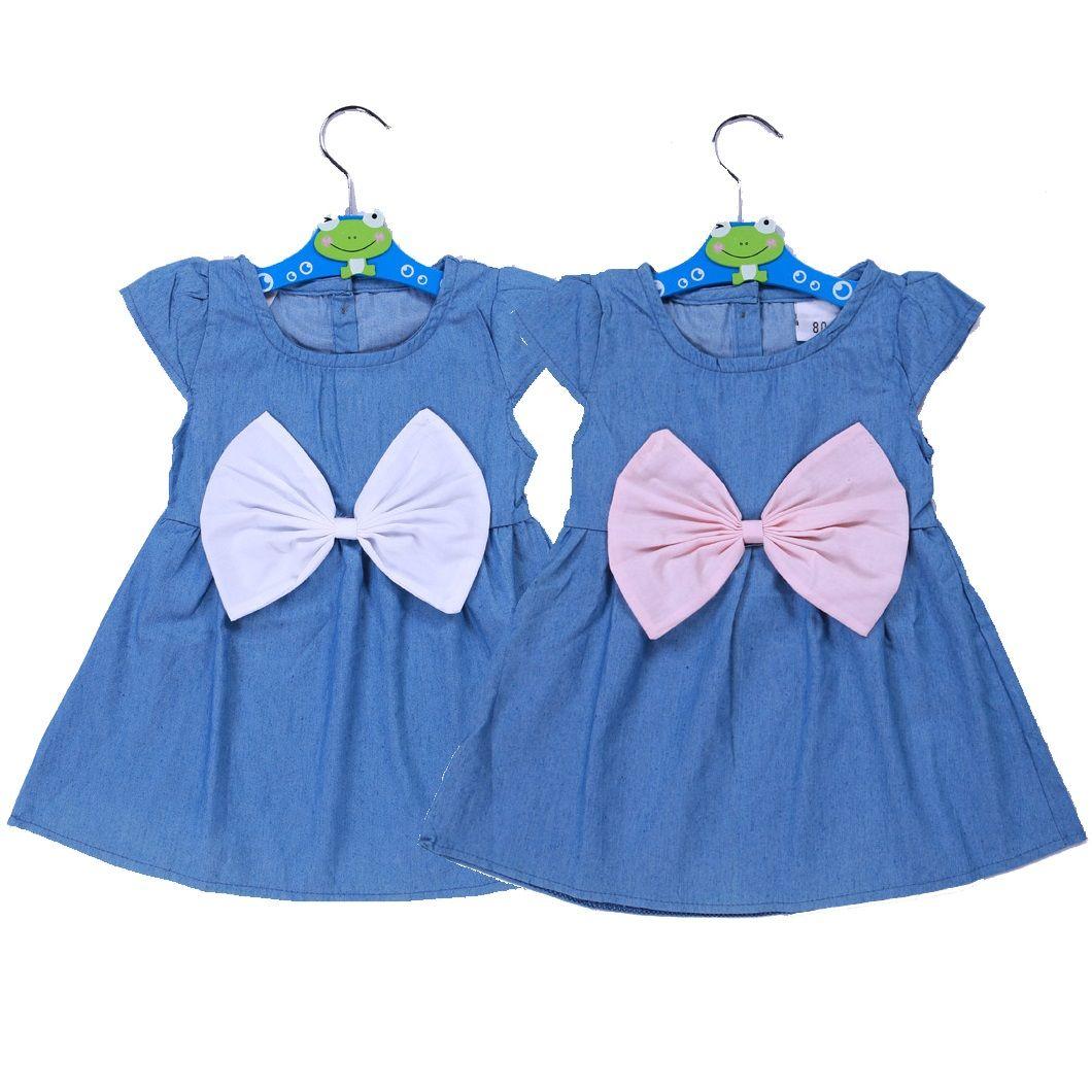 Baby Girl Kids Newborn Toddler Infant Big Bowknot Denim Dress Summer Clothes Top