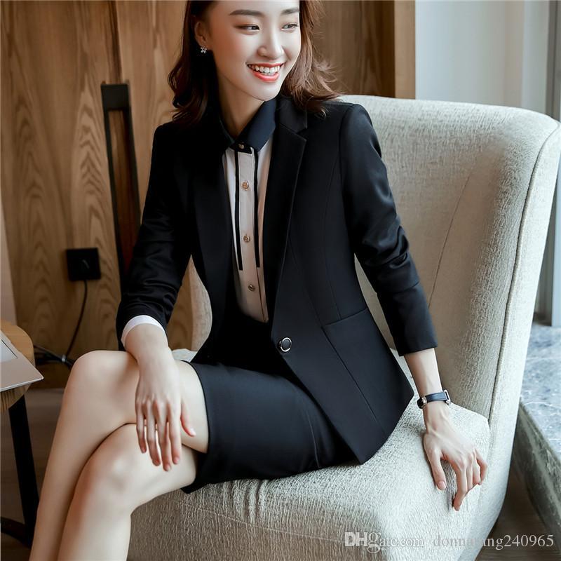 Women skirt suit fashion Sashes elegant Patchwork Long Sleeve black Blazer skirt sets business office ladies work 1808
