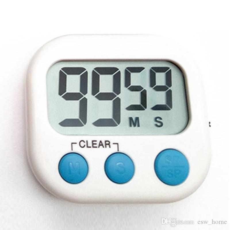 Rappel de cuisson de minuterie de cuisine numérique écran LCD avec la main de support Conception aimant d'alarme de crochet fort pour coller à réfrigérateur