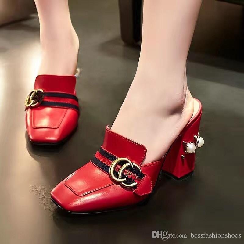 Dame Kleid Pumpen Sommer Loafer Pantoffel Frauen Schuhe dicke High Heels Casual Pumps Nieten Mode plus Größe echtes Leder Damen Schuhe