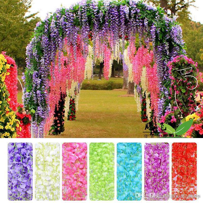 웨딩 장식 인공 꽃 110cm 우아한 인공 실크 꽃 7 색 등나무 꽃 덩굴 등나무 결혼식 센터 피스