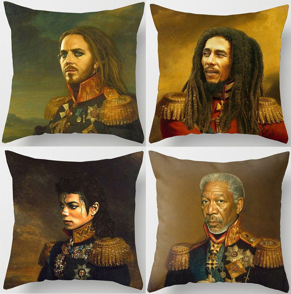 Tim Minchin Fundas de cojines Bob Marley Pinturas de estilo vintage europeo Michael Jackson Donald Trump Funda de almohada Funda de almohada de algodón de lino
