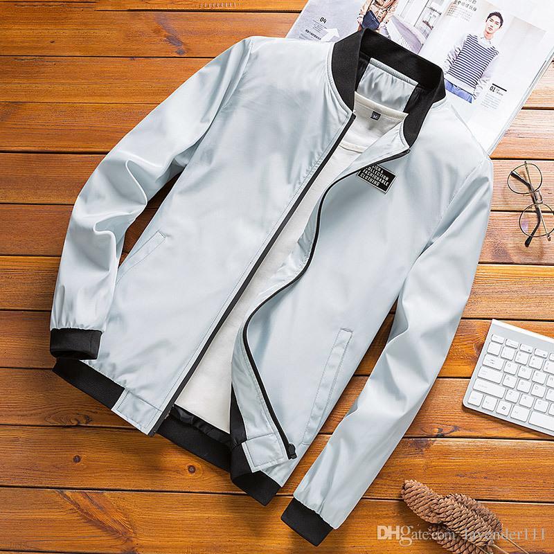 Giacche Uomo Plus Size solido del Tutto-fiammifero libero Tasche sottile sottile rivestimento studenti Mens Ulzzang Trendy morbido autunno abbigliamento