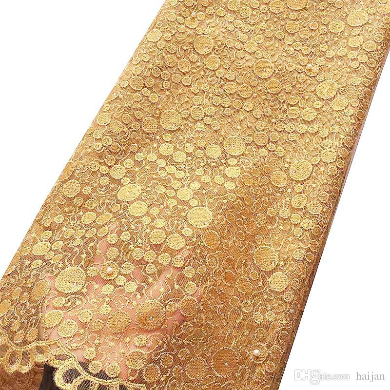 New Arrivals Beaded Guipure Lace Fabric Swiss Yellow Gold Weddings Tulle Net African Lace Fabric 2018 High Quality 5 Yard