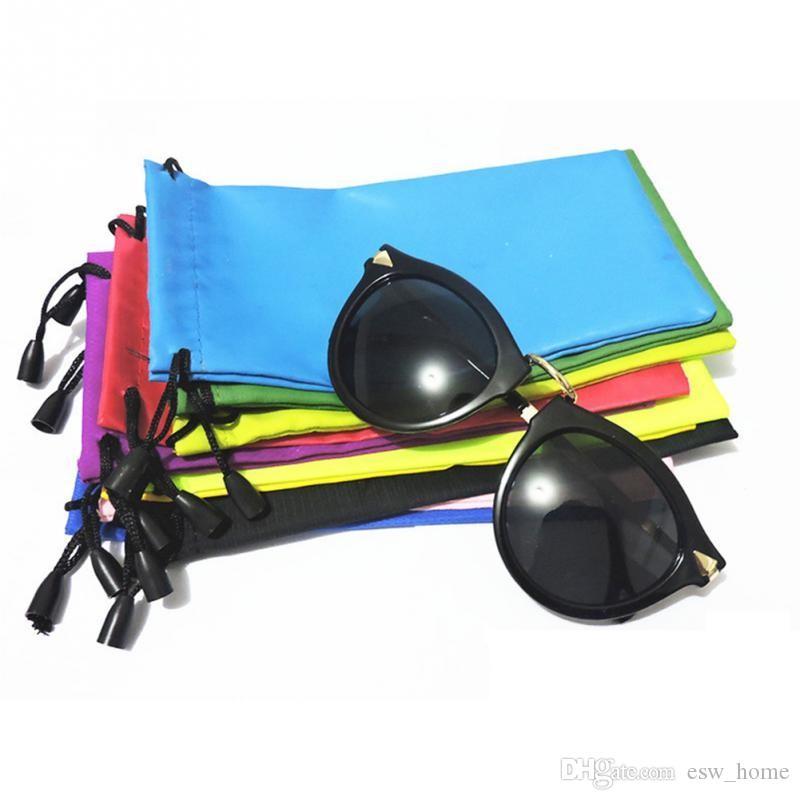 Hohe qualität süßigkeiten farbe plastik sonnenbrille tasche weiche brillen tasche gläser telefon taschen kordelzug sonnenbrille hüllen