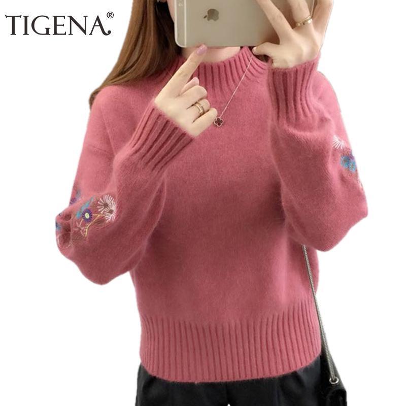 TIGENA вышивка водолазка свитер женщин 2018 зима толстые теплые женские пуловеры и свитера женский вязаный тянуть Femme Красный S18100803