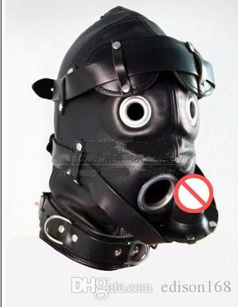 Mjukt läder Bondage Hood Mask Avtagbar EyePatch Silicone Dildo Mouth Plug Headagear BDSM Vuxen Sex Game Product Toy