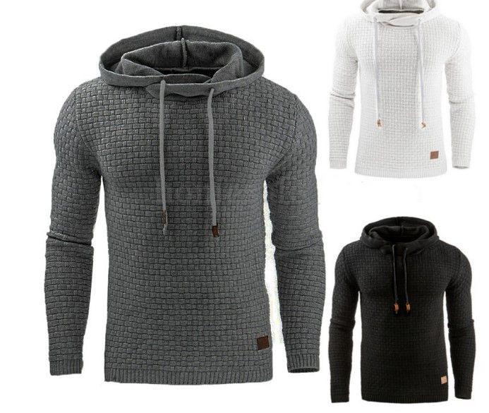 2018 sonbahar ve kış Avrupa ve Amerikan erkek jakarlı kazak uzun kollu hoodie sıcak kapüşonlu sweatshirt ceket