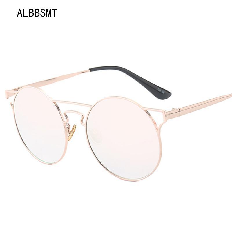 2018 new vintage de alta qualidade óculos de sol das mulheres rodada marca designer fashion espelho de metal de luxo óculos de sol das mulheres dos homens uv400