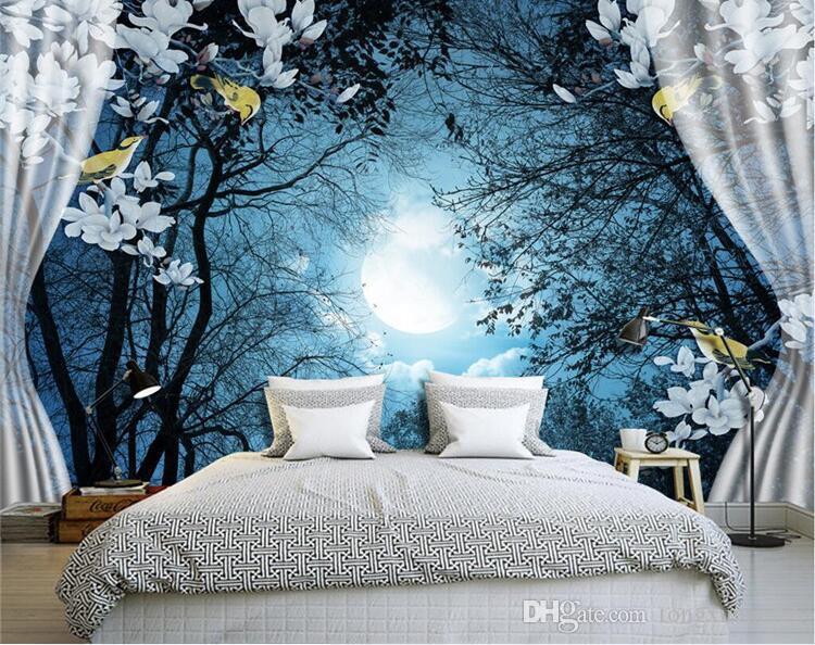 Acheter 3d Wall Mural Papier Peint Paysage Naturel Paisible Nuit Foret Lune Personnalise 3d Chambre Paysage Photo Papier Peint Fenetre Vue Chambre De 14 74 Du Tongxunbei66 Dhgate Com