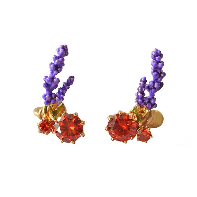 Warmhome Trendy Jewelry Francia Esmalte Glaze Purple Lavender Flowers Plantas Red Gem For Women Stud Earrings