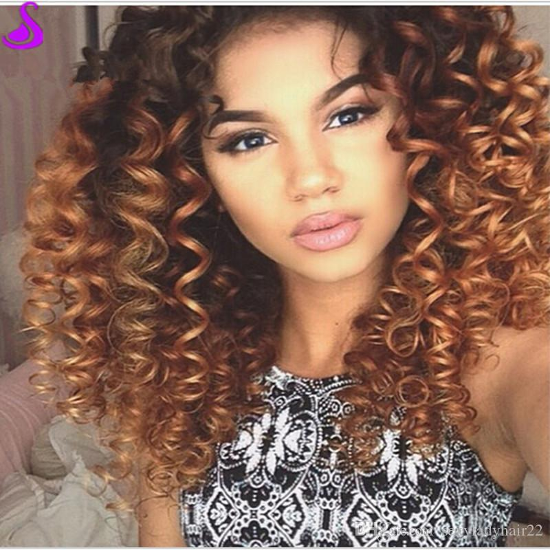 Ombre Brown wig short afro kinky Curly Synthetic Lace Front Wig Glueless Heat Resistant Natural Hair Wigs For black Women 180 Density