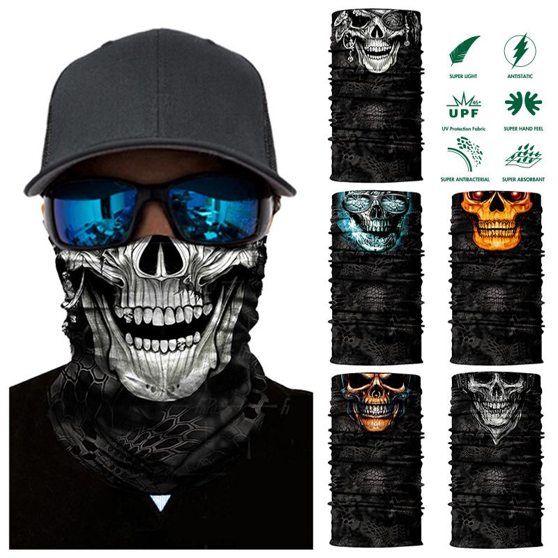 Magie 3D Nahtlose Stirnband Rohr Halstuch Gesichtsmaske Motorrad Skeleton Schädel Halloween Bandana Halstuch Kopftuch Schals