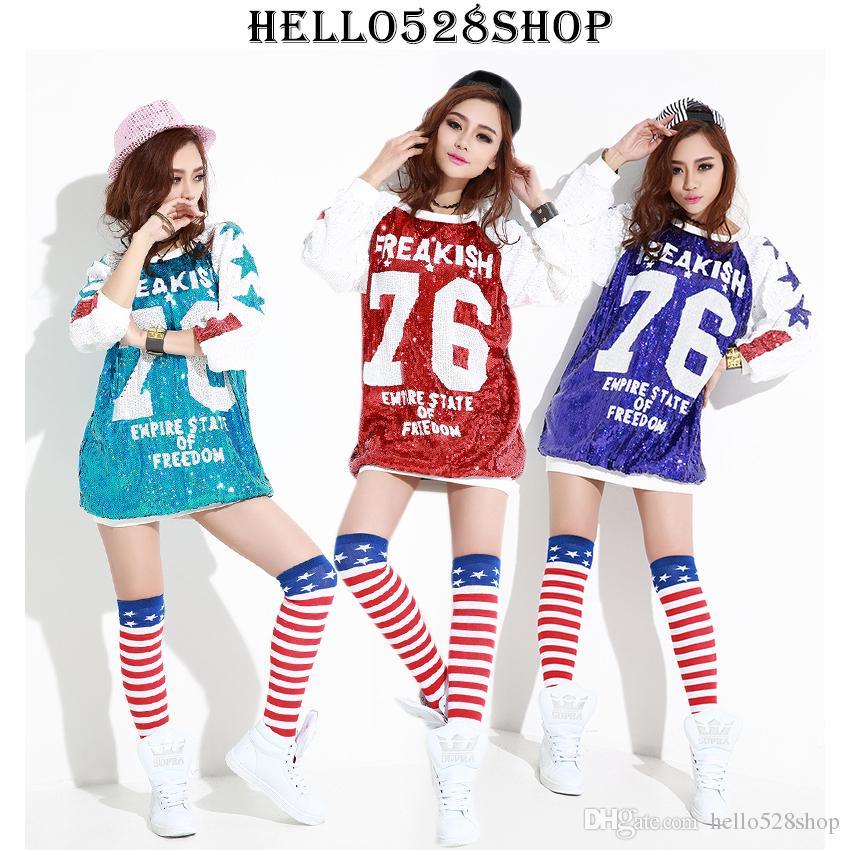 Moda 61 Mektup Tees Kadınlar Tops Uzun Stil Kısa Kollu Gömlek Yuvarlak Kollu Yaka Ceket Gece Kulübü Sahne Pul Kostümleri