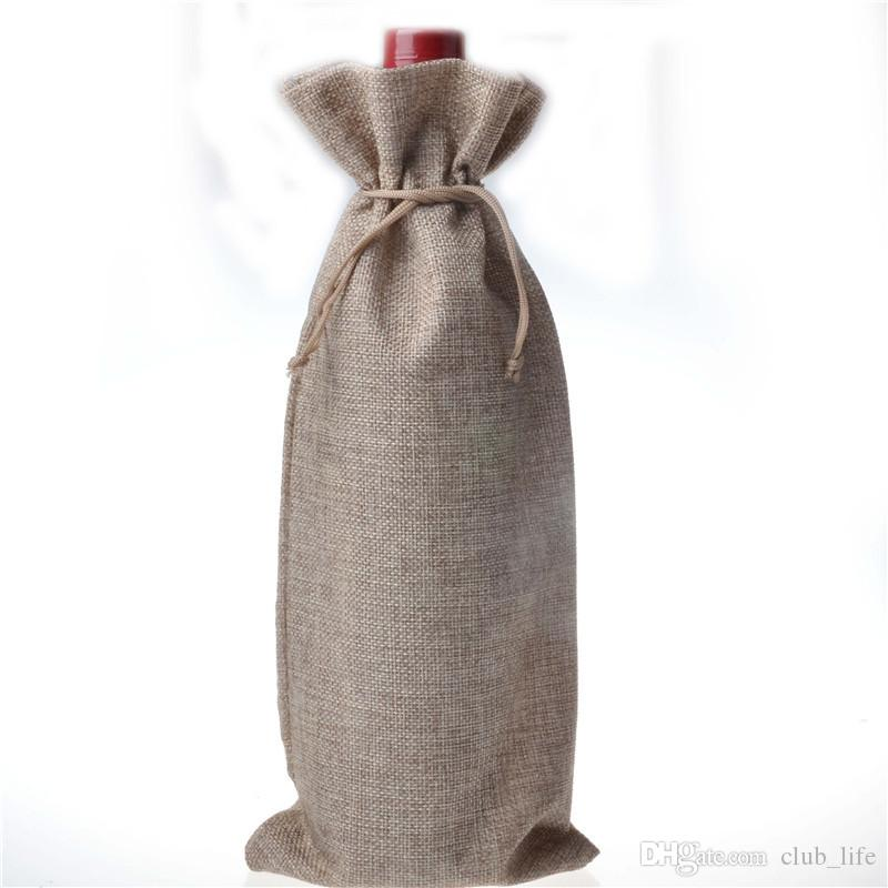 Wholesale Jute Wine Bags Champagne Wine Bottle Covers Gift Pouch burlap Packaging bag Wedding Party Decoration
