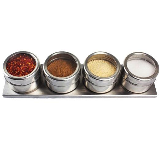 4pcs pots à épices condiment d'épices magnétiques en acier inoxydable salière et poivrière assaisonnement sprays outils de cuisson