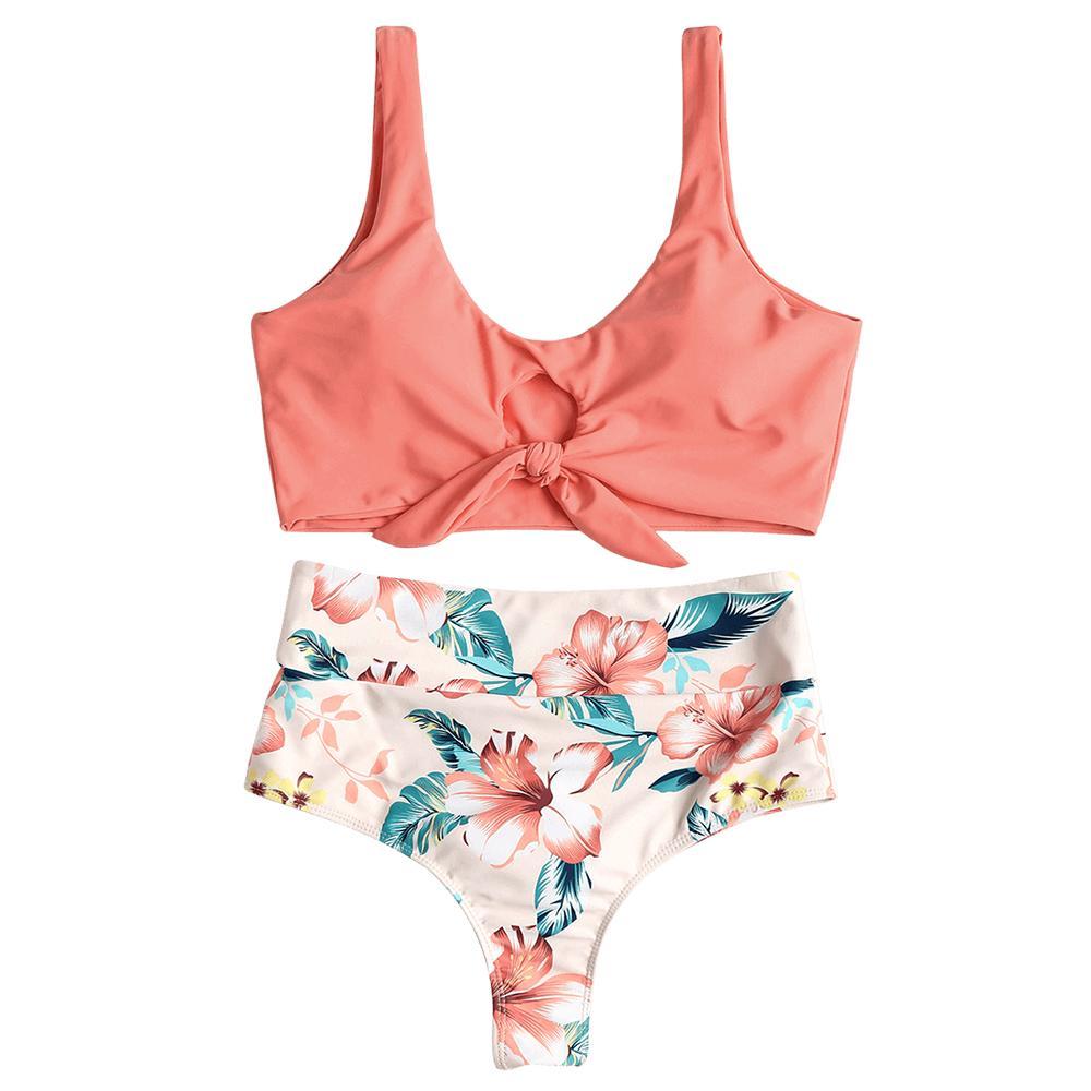 wholesale Sexy High Waisted Bikini Set For Women Knotted Swimsuit Floral Bikini Swimwear Scoop Neck Padded Biquni Bathing Suit