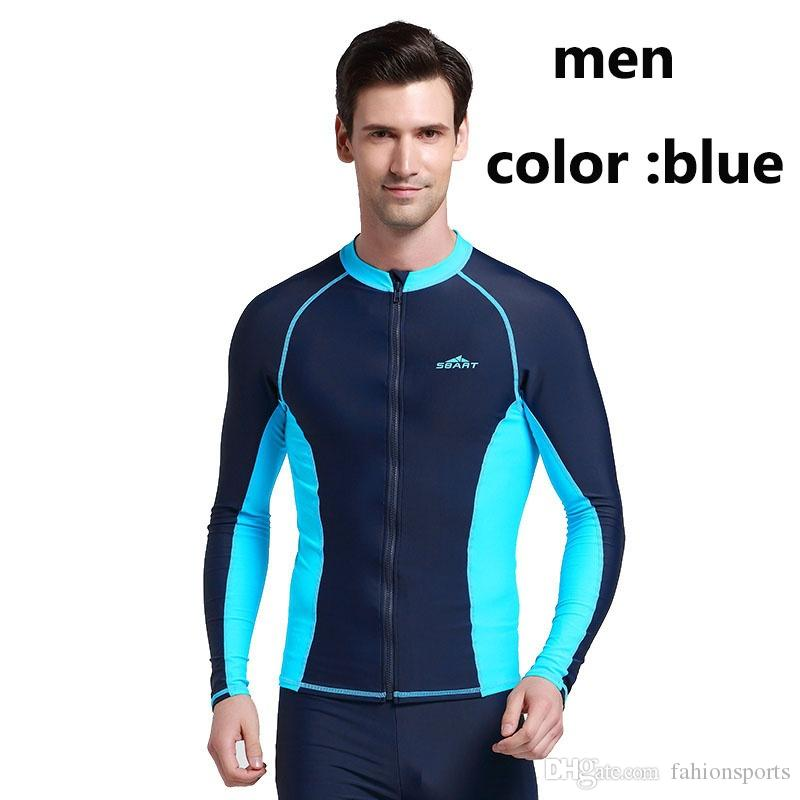 a136a6f88239f ... Couples Long Sleeve Swim RashGuard Shirts UPF50 Anti-UV Rash guard Top  With Zipper Men ...