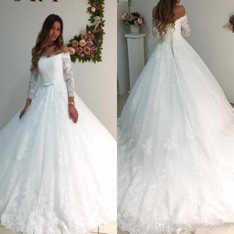 compre delicado vestido de novia 2018 sheer de manga larga con