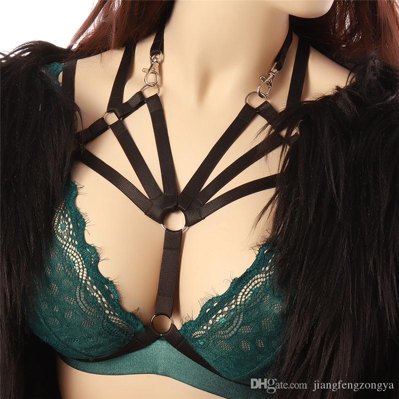 Black Body Harness BDSM Bondage Lingerie Elastico Adjust Strap Top Apri Cage bra Sexy Goth Reggiseni esotici Halloween Dance Rave Wear