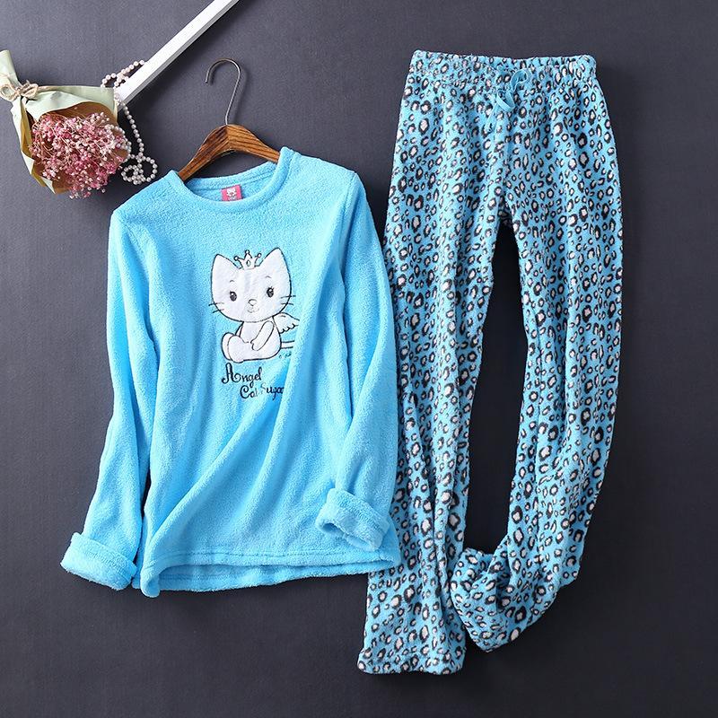 레오파드 여성 잠옷 잠옷 모직 양털 피자 마 Mujer Winter Pajama Nightwear