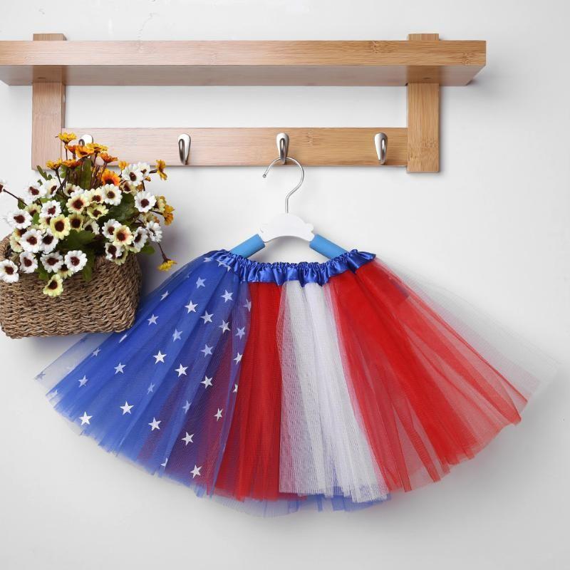어린이 소녀 옷 투투 스커트 다채로운 미국 국기 생일 파티 댄스 공주 투투 스커트 아기 소녀 의류 의류