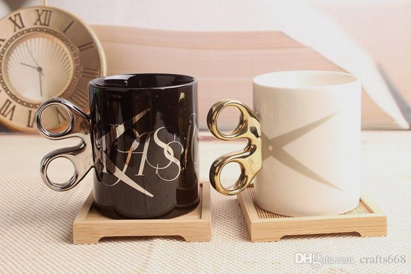 كأس مقص الإبداعية مع ديكور مقبض drinkwareparty هدية القدح فنجان القهوة