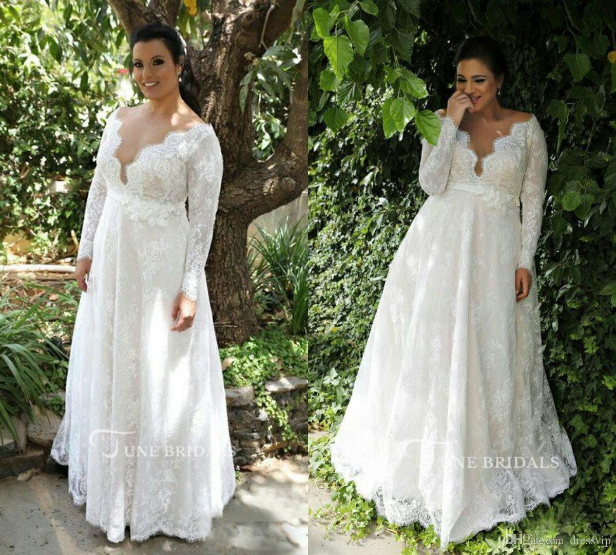 2018 Plus Size Wedding Dresses V Neck Long Sleeves Floor Length Applique Lace Wedding Dresses Belt Cheap Country Bridal Gowns