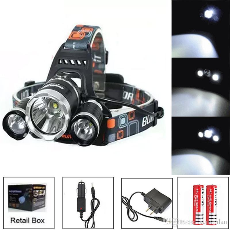 6000Lm CREE XML T6 + 2R5 LED Faro principale Lampada frontale Luce torcia 4 modalità + batteria 2x18650 + EU / US / AU / UK Caricabatteria da auto per pesca