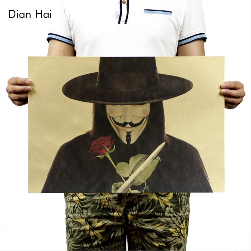V For Vendetta / B Models / Classic Poster Kraft Paper Poster Painting Core 51x35.5cm