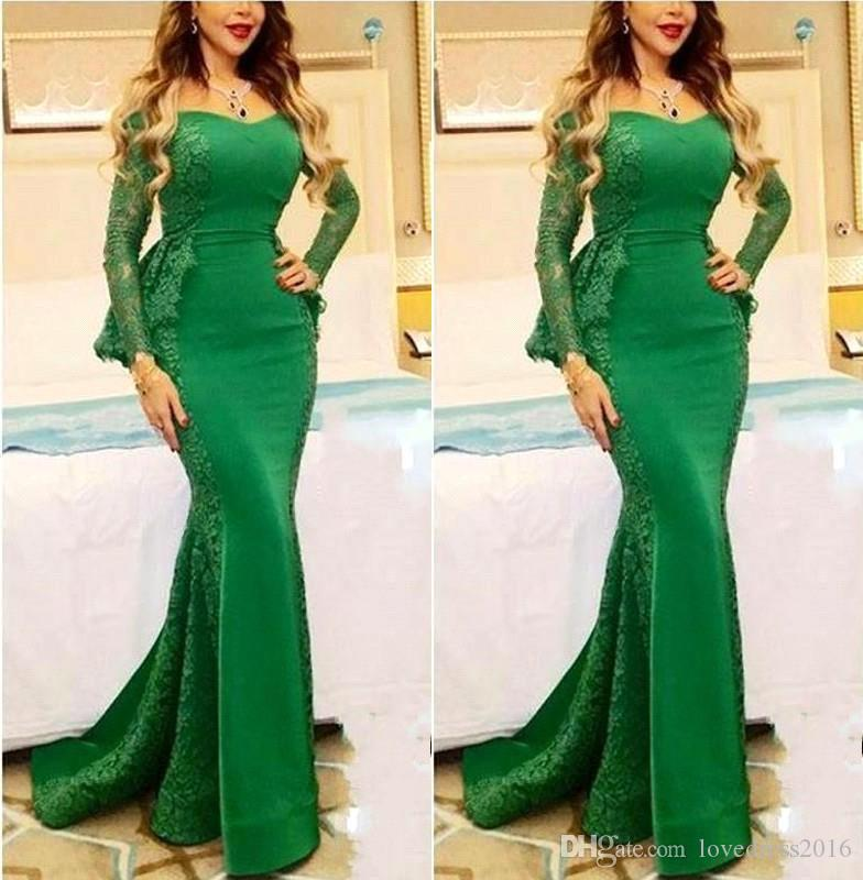 2019 Elegant Lace Long Sleeves Mermaid Evening Dresses with Peplum Mother of the Bride Party Gowns