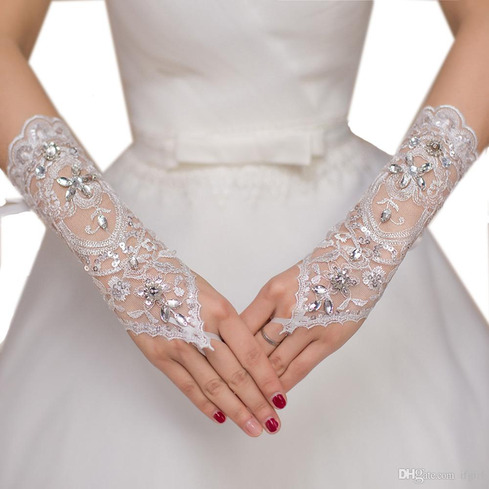fingerlose Brauthandschuhe Handschuhe Hochzeit spitze perlen Hochzeitshandschuhe