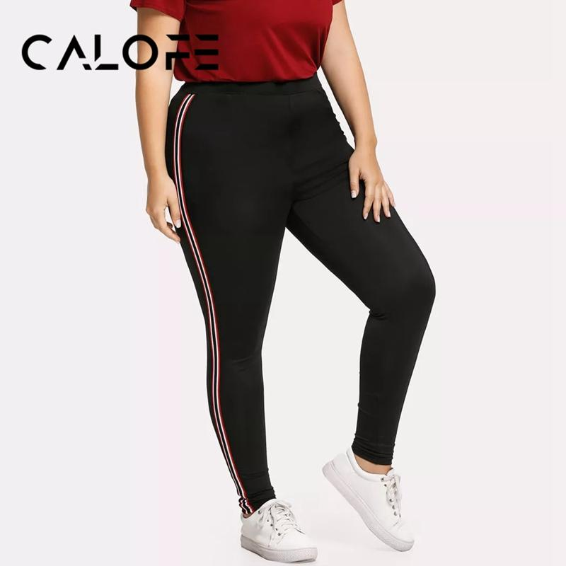 CALOFE Yoga Sports Female Striped Pants Active Sporting Crop Yoga Pant Women's Large Size Striped Pants Printed Side Leggings
