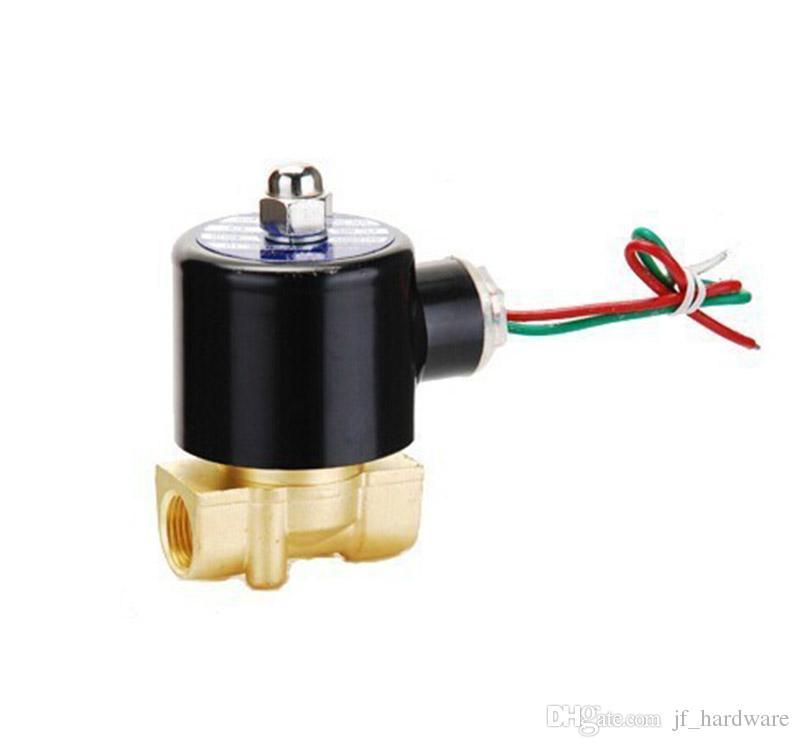 정상 폐쇄 물 밸브 G1 / 4 소형 솔레노이드 밸브 24V AC 220V 공기 밸브 전기 DC 12V 제어 밸브 황동 코일 110V 36V