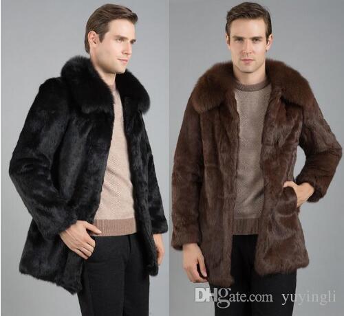 Nero marrone inverno addensare caldo faux fur coat uomo giacca di pelle sottile pelliccia coniglio abbigliamento uomo jaqueta de couro plus size
