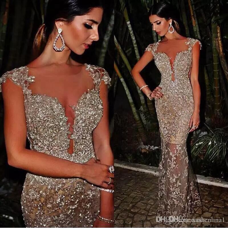 Elegante silberne Abendkleid formale Abschlussball-Maxi-Kleid Prickelnde Frauen nach Maß lange Maxi-Kleid Vestidos Longo Pailletten Applikationen Sheer Kleider
