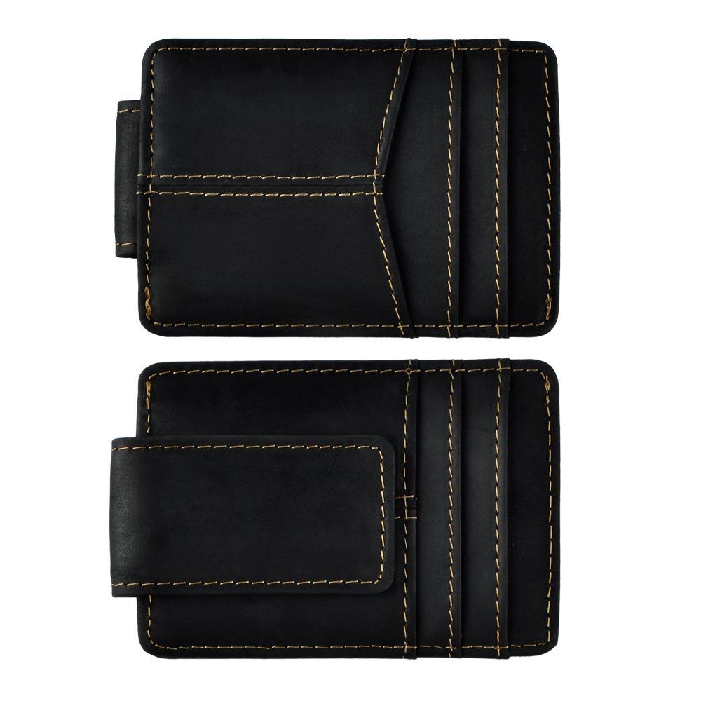 Masculino couro de qualidade Moda Viagem Magro Carteira Frente Mesada magnética clipe Mini Card Case Bolsa For Men 1017b