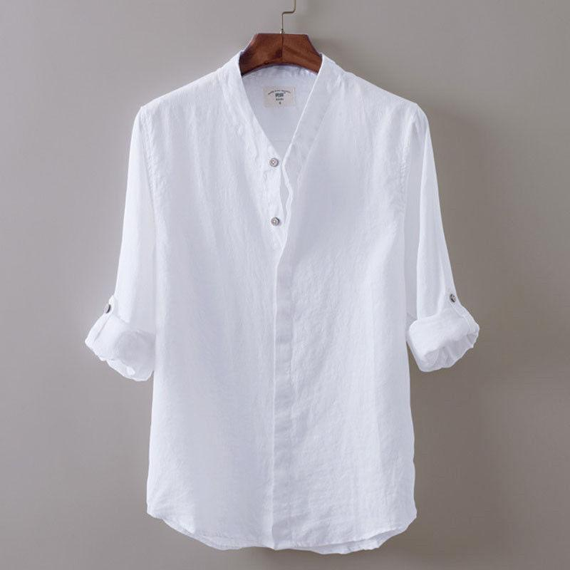 2019 real another chance top fashion 2019 Hirigin New M XXL Men White Linen Shirts V Neck Collar Long Sleeve  Breathable Thin Soft Shirt Men Women Casual Solid Shirt From Elizabethy,  $25.8 ...