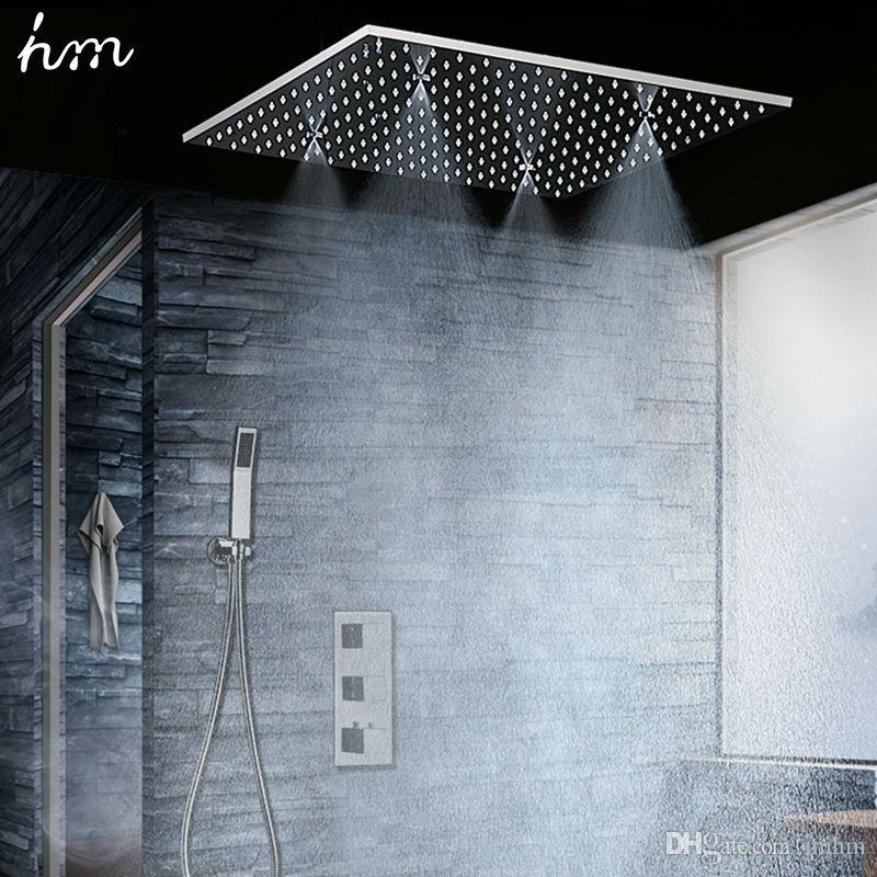 Luxus-Badezimmer Dusche 3 Funktion Thermostat-Hahn-Messingventil Set Deckenmontage Regen Mist Duschkopf